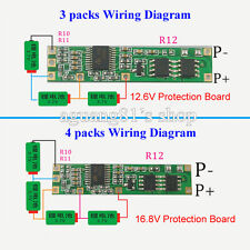 new Battery BMS Protection PCB Board for 3-4 packs 18650 Li-ion lithium Battery