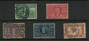 US Scott #323-327, USED Sound, clean complete set of 5 1904 Louisiana Purchase!