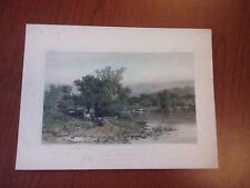 Beautiful hand colored antique c1872 print Housatonic