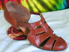 7-7.5 vintage 30s brown leather mary-jane pumps shoes