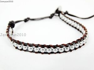 Handmade Natural Hematite Gemstone Beads Wrap Leather Bracelet Black Silver Gold