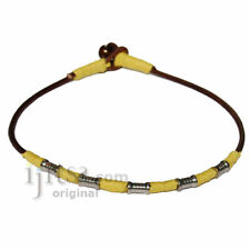 Leather & yellow hemp surfer necklace with metal beads