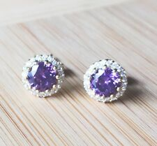 18k Gold GP Classic Purple Amethyst Paved Clear Crystal Round Earring Studs