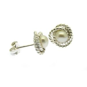 Pearl Stud Earrings Sterling Silver Knot Design White Cultured Freshwater Pearl