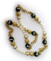 Dolce Gabbana D&G Logo and Love Necklace with Faux Pearls, Gilt Balls and Chain