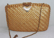 RODO LACQUERED NATURAL WICKER CONVERTIBLE CLUTCH WITH SINGE GOLD CHAIN STRAP