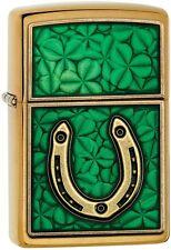 Zippo Choice Catalog 204B Horseshoe Clovers Brushed Brass Emblem Attached 29243