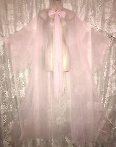 VTG Sz ALL Tall Pink Sheer Chiffon Peignoir Robe PUSSY BOW Angel Wing nightgown