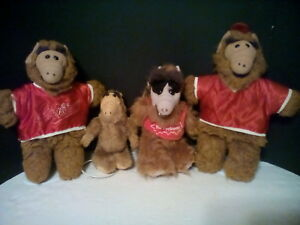 four 1988 alfs by aiien productions and 4 doll stands bundled