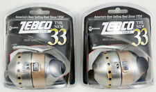 (Lot Of 2) Zebco 33 Gold 3.6:1 Gear Ratio Spincast Reel Clam Pack 21-11055