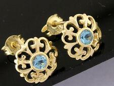 E076 Genuine 9K 9ct Solid Gold NATURAL Topaz  Fleur-de-Lis Stud Earrings Blossom