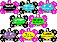 Double Sided Flower Pattern Pet Id Dog Tags Personalized w/ 4 Lines of Text