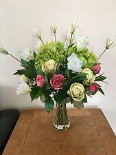 LARGE PINK/GREEN HYDRANGEA, ROSE &LISIANTHUS ARTIFICIAL FLOWER VASE ARRANGEMENT