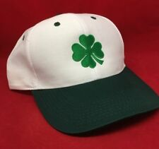 IRELAND IRISH SHAMROCK St. Patrick WHITE & GREEN embroidered Baseball cap a