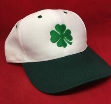 Ireland Irish Shamrock St. Patrick White & Green Embroidered Baseball Cap Hat