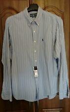 NUOVA linea uomo RALPH LAUREN camicia a maniche lunghe XXL blu / bianco / nero a righe cotone.