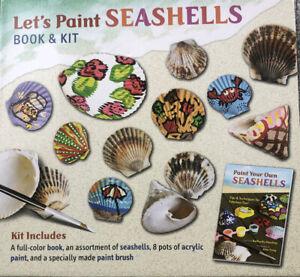 Children's Craft Let's Paint Seashells. 8 Pots Acrylic Paints & Colour Book