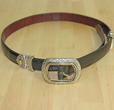 Vintage Womens Reversible Black & Brown Leather Silver & Gold Conchos Belt Sz 32