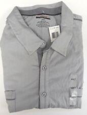 Alfani Gray 100% Cotton Jersey Short Sleeve Button Down Shirt LT Big & Tall