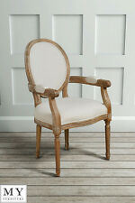 French Louis Style shabby chic OAK Oval  Dining Occasional ArmChair - Clouet