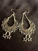 Chandelier Moon ,Hippie Dangle Earrings With Stars