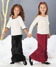 NWT CHASING FIREFLIES VELOUR PIXIE PEONY RED PANTS 6X & WHITE SEQUIN BOW TOP 6X