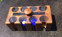 Nice Vintage Poker Chip Set & Wood Caddy-Poker Chips 2 Deck Holder W Swivel Lid