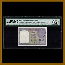 India 1 Rupee, 1957 P-75b Letter A PMG 65 EPQ Unc