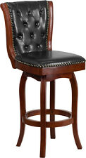 30'' HIGH LIGHT CHERRY WOOD BARSTOOL WITH BLACK LEATHER SWIVEL SEAT