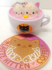 Latte Kitten Coffee Kawaii Moon Cat Keychain Mascot Figure Alpacasso Japan