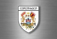 Sticker decal souvenir car coat of arms shield city flag copenhagen denmark