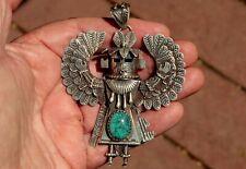 Stunning Giant Navajo Detailed Sterling Silver & Turquoise Stone Kachina Pendant