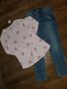 Girls Size 12 JUSTICE new Hedgehog L/S + Jeans