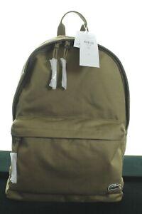 BNWT LACOSTE NH1595NE KHAKI BACKPACK RUCKSACK SCHOOL GYM BAG IN CANVAS RRP £80