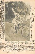 Rarität Litho AK 1898 All Heil vom Fels zum Meer fröhliche Dame auf Fahrrad