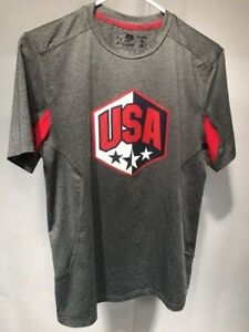 Champion Power Core Duo Dry USA Stars Shield Gray Workout Exercise Shirt