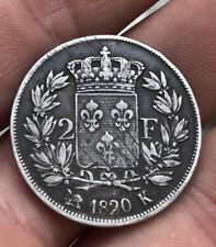 2 Francs 1820 K Louis Xviii. Rare Argent Bordeau