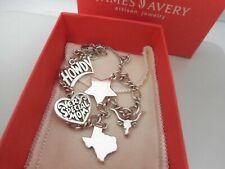 James Avery Sterling Silver Charm Bracelet & 5 J Avery Texas Themed Charms