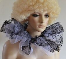 WICKED WITCH/EVIL QUEEN - BLACK & WHITE SPIDER WEB net COLLAR pantomime ruff