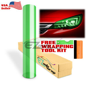 "12""x180"" Glossy Green Color Tint Headlights Fog Lights Taillight Vinyl Film"