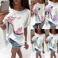 Summer Womens Ladies T Shirt Floral Print Loose Tops Short Sleeve Shirts Blouse