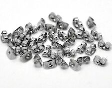 100 Antique Silver Tone 6mm x 4mm Earring Backs Stoppers Ear Nuts J16820G