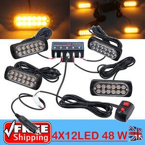 4x12 LED Car Recovery Light Bar Amber Warning Strobe Flashing Beacon   LIGHTING