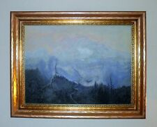 20th Century American School Atmosheric Perspective Mt. Landscape Oil Painting