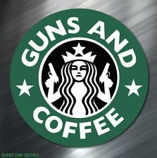 (1) GUNS AND COFFEE STICKER DECAL LAPTOP PISTOL HAND GUN GREEN NEW