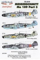 Lifelike 1/72 decal Messerschmitt Me 109 Pt 3 Academy FineMolds Tamiya