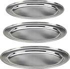 3 Ovale In Acciaio Inox Servire Vassoi 35cm 40cm & 45cm Vassoi Buffet