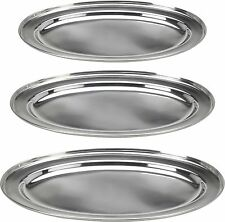 3 Stainless Steel Oval Serving Trays 35cm 40cm & 45cm Serving Platters Buffet