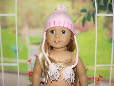 """Pink Hat with Long Strings for American Girl or other 18"""" Dolls  - Bin 4"""