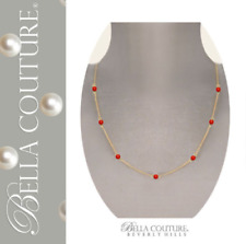 $695 AAA+ VICTORIAN 14K GOLD SARDINIAN CORAL ANTIQUE VTG GEMS PENDANT NECKLACE